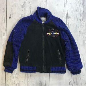 Vintage leather baseball Jacket 80's black